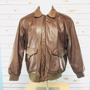 Men's Leather Aviator Flight Bomber Jacket Brown M